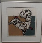 """Run Down"" -- original woodcut by artist Lou Grant"